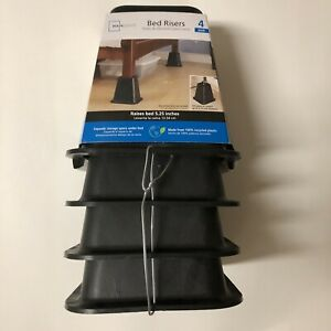 """4 PACK MAINSTAYS BED RISERS (BLACK) RAISES BED 5.25 INCHES FITS POST 2.75"""" NEW"""