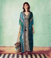 Tory Burch Silk Caftan Cover Up Dress Silk Maxi M / L 8 10 12 Chiffon Tofino