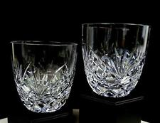 """GALWAY CRYSTAL SIGNED ASHFORD CUT 2 PC 3 3/4"""" DOUBLE OLD FASHIONEDS 1972-93"""