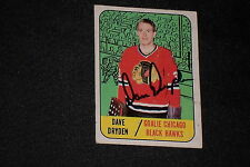 DAVE DRYDEN 1967-68 TOPPS ROOKIE SIGNED AUTOGRAPHED CARD #57 BLACK HAWKS