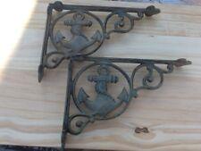 2 Ship Anchor Shelf Brace Shelf Bracket  Cast Iron Rustic Copper Patina Nautical