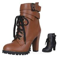 womens leather shoes Vintage Lace Up Ladies high heel ankle Boots Size 1-8 vancy