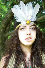 Fairy Goddess Feather Head Dress Headband Festival Secret Garden Fae Attire