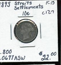 1893 Straits Settlements 10 Cents F15 AB795
