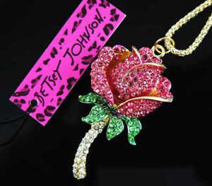 Betsey Johnson pink Rhinestone crystal seed rose flower Pendant Necklace