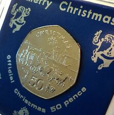 1980 Isle of Man IOM Christmas Xmas Stagecoach Coin (UNC) Gift in Display Case