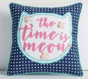 """Pottery Barn Teen Meow Bejeweled Pillow """"The Time Is Meow"""" 16 in x 16 in"""
