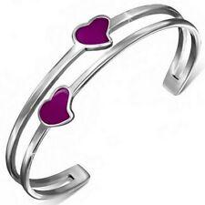 Stainless Steel Silver-Tone Purple  Enamel Love Heart Open End Bangle Bracelet
