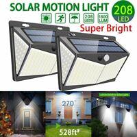 208LED Outdoor Solar Power Light PIR Motion Sensor Garden Wall Lamp Waterproof