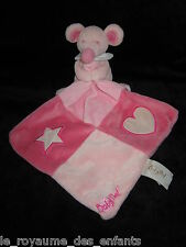Doudou Souris rose mouchoir carré coeur étoile luminescent Babynat' Baby Nat'