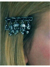 Gothic Pirate Accessory Dangling Skulls Metallic Pewter Hair Clip Barrette