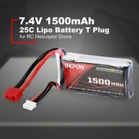 ENGPOW 7.4V 1500mAh 25C 2S 1P Lipo Battery T Plug for RC Helicopter gg