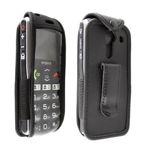 caseroxx Leather-Case with belt clip for Emporia V27 in black made of genuine le