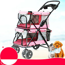 Folding Pet Stroller Dog Cat Double-layer Carrier Buggy Breathable Cart Walking