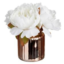 Artificial White Peony Peonies Flowers In Rose  Gold Copper Glass Pot Vase