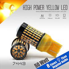 2X 750 Lumens 7443 50W High Power LED Amber Yellow Turn Signal Light Bulbs