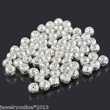 100Stk.Versilbert Filigran Spacer Perlen Beads 8mm D.