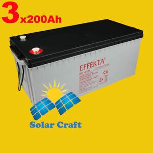 3xAccumulateur 12V 200Ah source energie renouvelable recharge decharge Courant