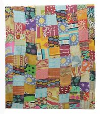 Patchwork Kantha Quilt Indian Handmade Vintage Bedspread Throw Cotton Blanket...