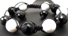 17.16g Faceted Black & White Onyx Genuine Gemstones Spheres Shamballa Bracelet