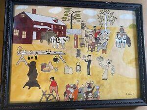 "Edward Charles Kimmel (1898-1968) ""Amish Farm Scene"" Watercolor Painting #2"