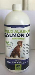 PETHONESTY Wild Alaskan Salmon Oil for Dogs & Cats EPA DHA & OMEGA-3 32 fl.oz