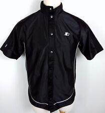 VTG STARTER Black Warm Up Jersey Mens Small Snap Button Up Embroidered Shirt
