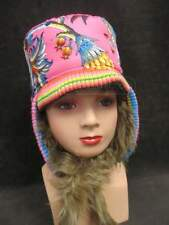 NEW Oilily PINK FLORAL / FUR Russian Ushanka REVERSIBLE HAT * sz 4/ 6 US = 53 EU