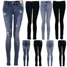 Ladies Light Acid Wash Dark Denim Women's Studded Skinny Fit High Waist Jeans