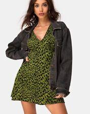 MOTEL ROCKS Harlow Dress in Lime Animal Flock MR16