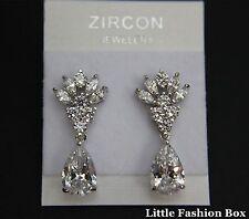 "White Gold Plated Dangle Teardrop Cubic Zirconia Earring UK New 1.1"""