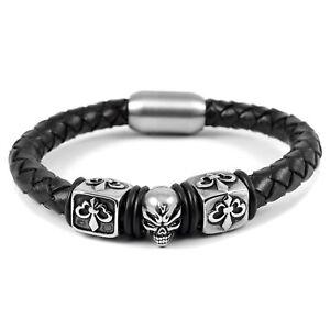 Armband Herren Leder Und Stahl Schließe Schädel Totenkopf Würfel Lilie 0157