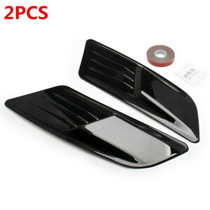 2PCS ABS Black Car Decoration Air Flow Intake Scoop Bonnet Side Fender Vent Hood