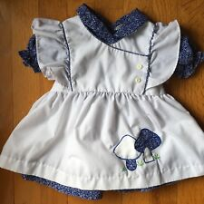 Vintage Mayfair Baby Dress Blue with White Pinafore Embroidered Mushrooms Sz 9mo