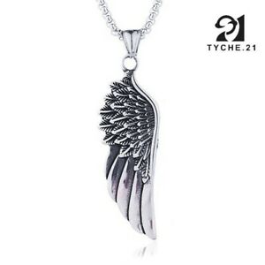 Archangel Michael Angel Wing Necklace Pendant Silver Stainless Steel Box Chain