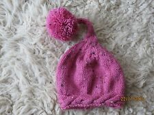 ORIGINAL HAND-KNITTED PINK FLECK ELF HAT WITH POM POM 3-6 MONTHS