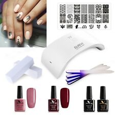UV/LED Nail Gel Polish complete starter kit set 24watt lamp dryer with colours