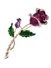 Valentine Purple Lavender Gold Rose Clear Diamante Rhinestone Gift Pin Brooch