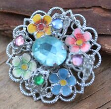 Vintage Brooch Pin Round Retro Jewellery Jewelry 50s Small Rhinestone Flowers