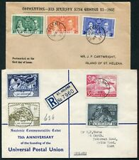 St Helena 1937 Coronation and 1949 UPU sets used on two first day covers