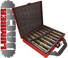 NUOVO LUMBERJACK 99 PEZZI PC TITANIO legno HSS set punte trapano in acciaio con custodia in metallo