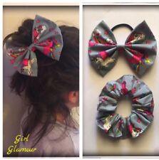 Grey Unicorn Fabric Bow Scrunchies Elastic Band Headband Bandana Ponytail Dress