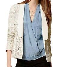 $198 Anthropologie Vegan Lacey Leather Blazer Medium 6 8 Ivory Jacket UNIQUE NWT