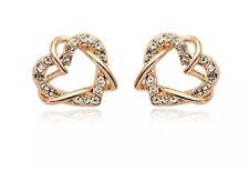 18k Rose Gold Gf Love Heart Earrings Studs FEA Swarovski Crystal Jewellery Aussi