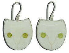Peridot Cat Face Earrings 925 Sterling Silver Carved Buffalo Bone Bali Jewelry