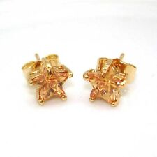 18k Yellow Gold Filled Earrings 8MM Champagne Stud CZ GF Charms Fashion Jewelry