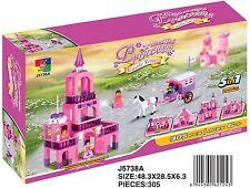 Woma Schloss Princess Pink für Mädchen  5 in 1 Bausteine Set 305 Teile  J5738A