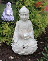 Garden Buddha ornament sitting, Solar powered light up large outdoor indoor