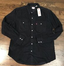 NEW Levi's Mens Navy Blue Corduroy Western Pearl Snap Button From LS Shirt XL