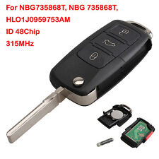 Flip Key Remote Fob Keyless Entry 315mhz 4 Button For VW Golf NBG735868T